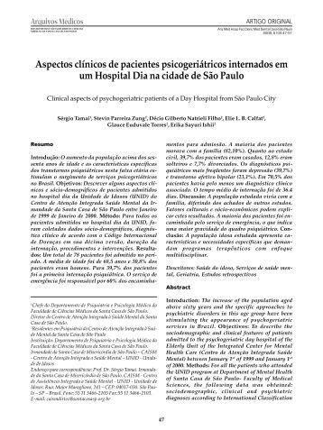 Aspectos clínicos de pacientes psicogeriátricos internados ... - fcmscsp