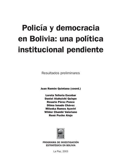 Policía Y Democracia En Bolivia Una Política Institucional