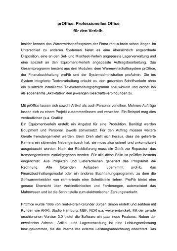 Pressemitteilung prOffice 09/2001 - rent a brain GmbH
