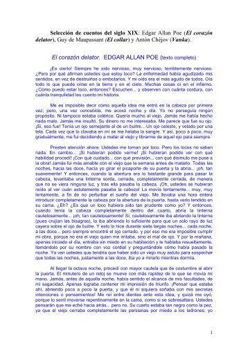 CUENTOS S. XIX, Poe, Maupassant y Chéjov. - Colegio Lourdes