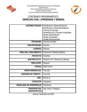 CONTENIDO PROGRAMÁTICO DERECHO CIVIL I (PERSONAS Y ...