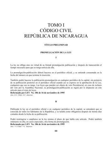 TOMO I CÓDIGO CIVIL REPÚBLICA DE NICARAGUA - kalachero