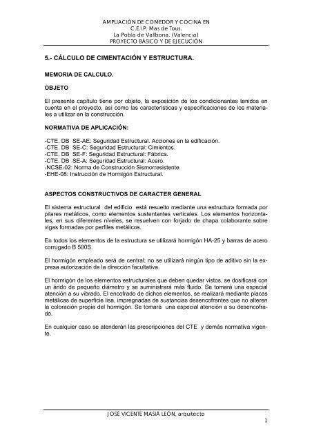 5 Cálculo De Cimentación Y Estructura Ajuntament De