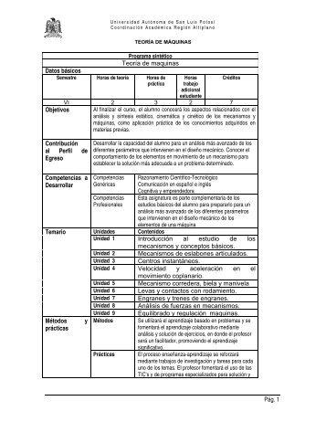 Teoría de maquinas - Universidad Autónoma de San Luis Potosí