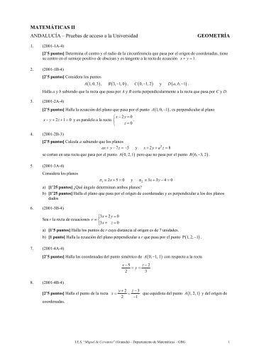 MATEMÁTICAS II - Selectividad Andalucía - Geometría - Orange