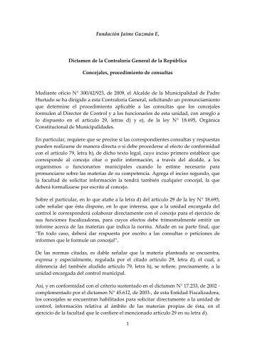 Concejales, procedimiento de consultas - Fundación Jaime Guzmán