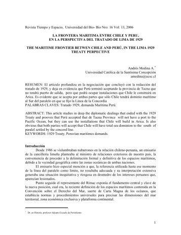 LA FRONTERA MARITIMA ENTRE CHILE Y PERU - Universidad ...