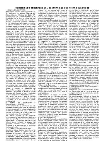 CONDICIONES GENERALES DEL CONTRATO ... - Eléctrica de Cádiz