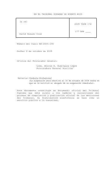 2009 TSPR 174 - Rama Judicial de Puerto Rico