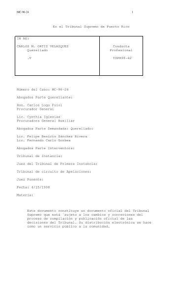 98 TSPR 42 - Rama Judicial de Puerto Rico