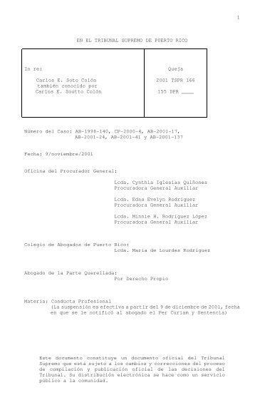 2001 TSPR 166 - Rama Judicial de Puerto Rico