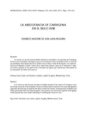 LA ARISTOCRACIA DE CARTAGENA EN EL SIGLO XVIII