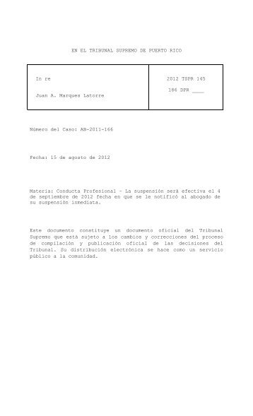 2012 TSPR 145 - Rama Judicial de Puerto Rico