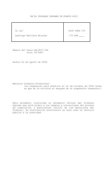 2008 TSPR 176 - Rama Judicial de Puerto Rico