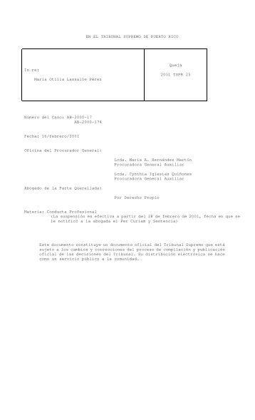 2001 TSPR 25 - Rama Judicial de Puerto Rico
