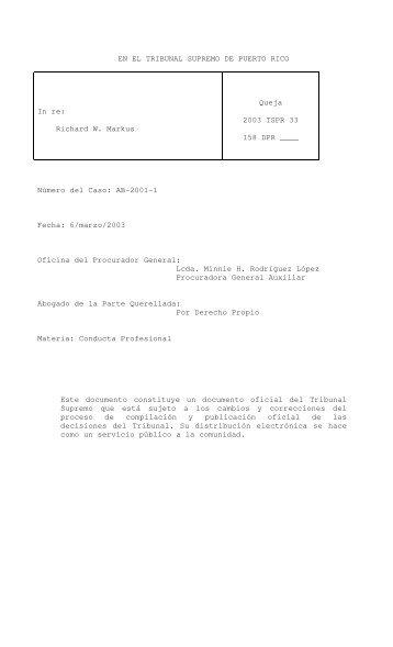 2003 TSPR 33 - Rama Judicial de Puerto Rico