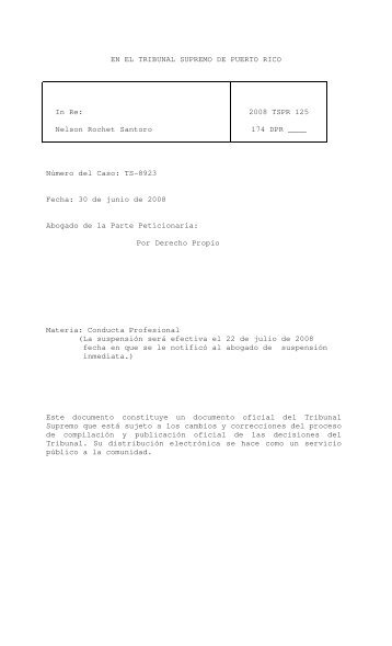 2008 TSPR 125 - Rama Judicial de Puerto Rico