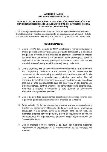 """ACUERDO No.096 (DE NOVIEMBRE 04 DE 2010) """"POR EL ... - Girón"""