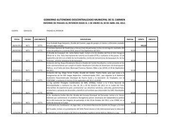 Pasajes al interior de enero a marzo de 2012 - Gobierno Municipal ...