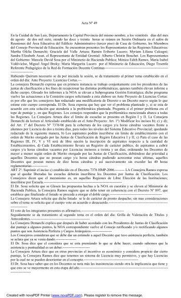 Acta Nº 49 En la Cuidad de San Luis, Departamento la Capital ...