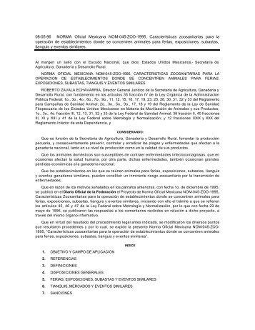 08-05-96 NORMA Oficial Mexicana NOM-045-ZOO-1995 ...