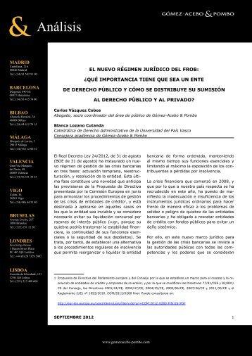 El nuevo régimen jurídico del FROB - Gómez-Acebo & Pombo