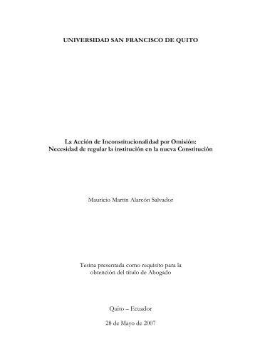 (Introducción Tesina) - Repositorio Digital USFQ - Universidad San ...