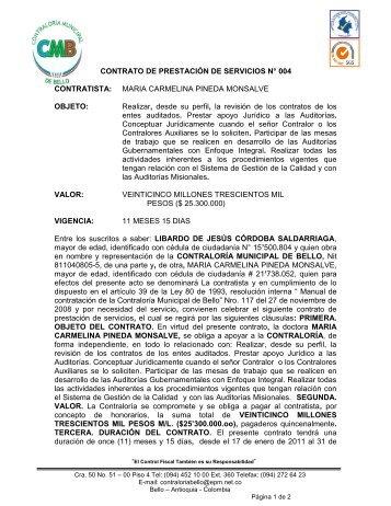contrato numero 082 de 2004 - Contraloría del Municipio de Bello