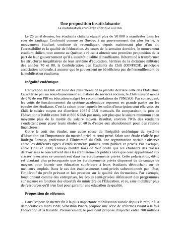 Une proposition insatisfaisante - Chaire Nycole Turmel - UQAM