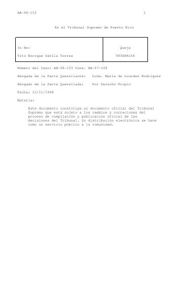 98 TSPR 166 - Rama Judicial de Puerto Rico
