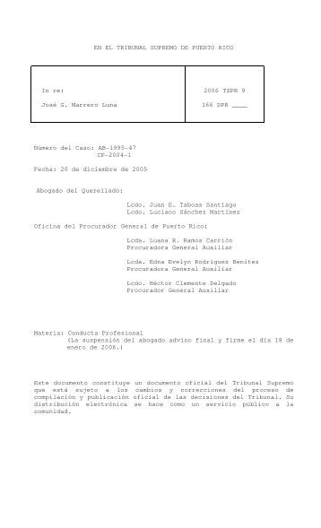2006 TSPR 9 - Rama Judicial de Puerto Rico