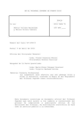 2003 TSPR 76 - Rama Judicial de Puerto Rico