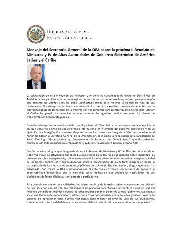 Mensaje del Secretario General de la OEA sobre la próxima II ... - OAS