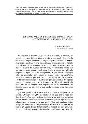 Principios para un diccionario conceptual y sistemático de la lengua ...