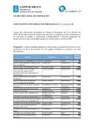 Lista das subvencións concedidas a diversos programas de