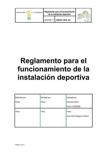 Reglamento para el funcionamiento de la instalación deportiva