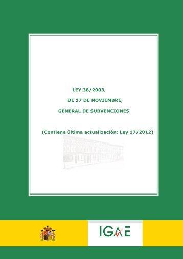 Ley 38/2003, de 17 de noviembre, General de Subvenciones