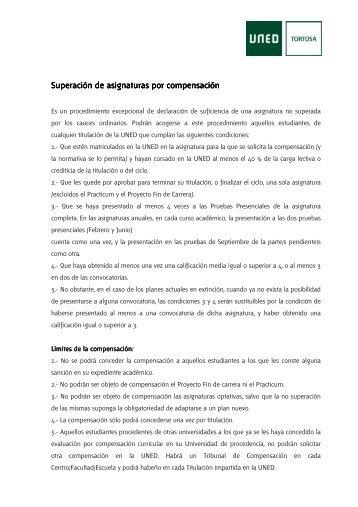Superación de asignaturas por compensación Superación ... - UNED