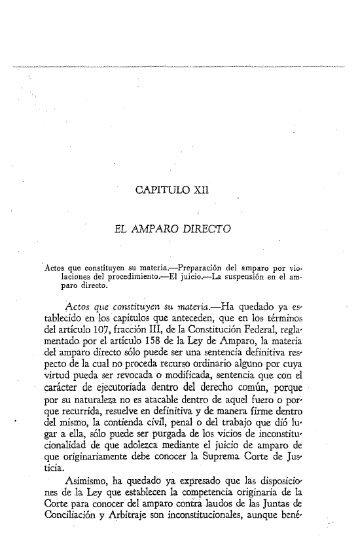 CAPITULO XII EL AMPARO DIRECTO Actos que constituyen su ...