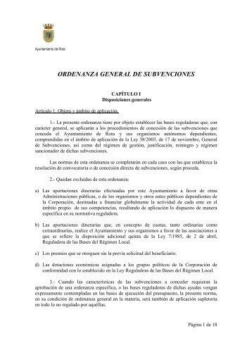 ordenanza general de subvenciones - Ayuntamiento de Rota