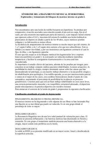 Síndrome del atrapamiento meniscal femorotibial - centro kineos