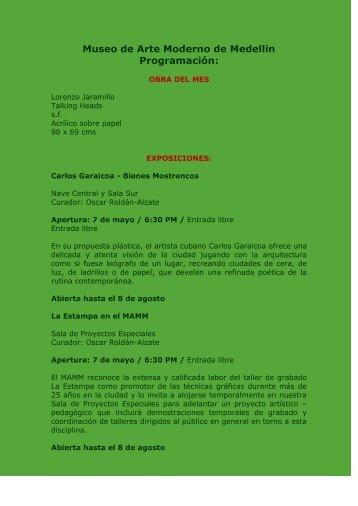 Museo de Arte Moderno de Medellin Programación: