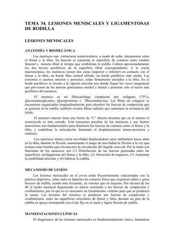 TEMA 34. LESIONES MENISCALES Y LIGAMENTOSAS DE RODILLA