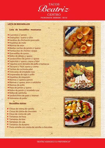 Lista de bocadillos mexicanos Cuernitos c/ jamón ... - Tacos Beatriz