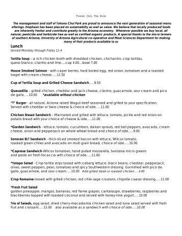 Tortilla Soup – a rich chicken broth with ... - Tohono Chul Park