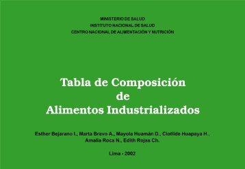 Tabla de Composición de Alimentos Industrializados - Nutrinfo.com