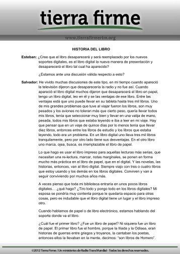HISTORIA DEL LIBRO Esteban: ¿Cree que el libro ... - Tierra Firme