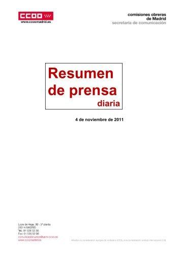 Resumen de prensa diaria - Comisiones Obreras de Madrid