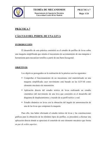 teoría de mecanismos práctica 7 cálculo del perfil de una leva