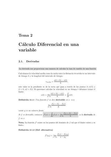 Cálculo Diferencial en una variable